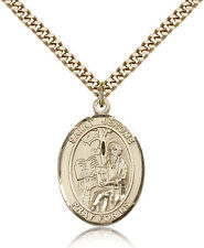 """Saint Jerome Medal For Men - Gold Filled Necklace On 24"""" Chain - 30 Day Money..."""