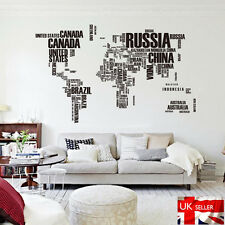 Words World Map Wall Art Decal Sticker Vinyl