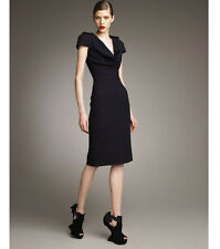Alexander McQueen (Ita.46/48) 2011 Navy Crepe Military Cowl Sheath Shift Dress
