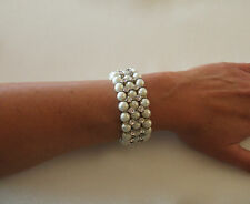 Vintage feel ivory pearl rhinestone cuff bracelet bridal wedding jewellery