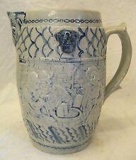 Old Antique WHITES UTICA SALT GLAZE BEER JUG PITCHER Stoneware POTTERY EMBOSSED