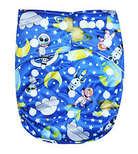 "SEE DIAPERS ORGANIC BAMBOO TERRY BABY CLOTH DIAPER WITH 2 TERRY INSERTS ""SPACE"""