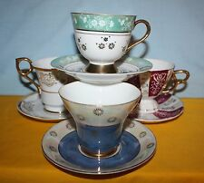 VINTAGE SET OF 4 HAND-PAINTED W/GOLD TRIM CHINA TEA CUPS & SAUCERS MADE IN JAPAN