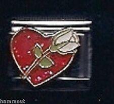 RED HEART WHITE ROSE FLOWER WHOLESALE ITALIAN CHARM #83