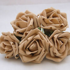 20 x 6cm Dia Open Roses in Coffee Colourfast Foam Artificial Wedding Flowers