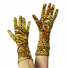 LEOPARD PRINT VELVET EFFECT GLOVES, SIZE: ONE SIZE