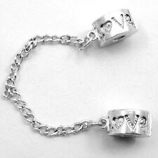 1pc Silver Plated Stopper Safety Chain Bead Fit European Charm Bracelet