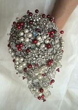 ❤️ Bridal Brooch Bouquet Red Berry Beads and Crystals Winter Wedding Flowers