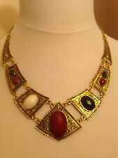 LOVELY  NECKLACE WITH RED /BLACK /CREAM STONES