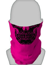 BLACK SKULL PINK DESIGN  MOTORBIKE FACE MASK SKULL FACE NECKTUBE SCARF SNOOD