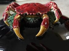 """Large 7"""" x 12"""" Palissy style Vtg Majolica Crab Clam Tureen + Ladle MINT Portugal"""