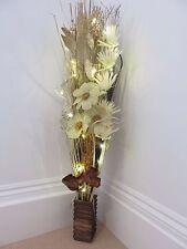 NUOVO COLOR CREMA ORO NATALE Display in Vaso di legno con luci a LED Matrimoni & Natale