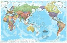 WORLD MAP PACIFIC CENTERED POSTER (100x65cm) LARGE AUSTRALIA MIDDLE NEW