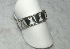 Heart Ring Cut Out Sterling Silver Band Size 7 with Braiding