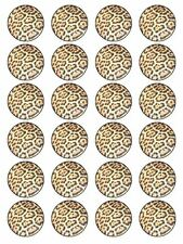 X24 LEOPARD PRINT BIRTHDAY CUP CAKE TOPPERS DECORATED ON EDIBLE RICE PAPER