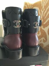 Chanel Quilted CC Logo Calfskin Quilted Black Burgundy Boots W/Box&Dust Bag 38.5