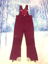 ELLESSE VTG Womens FITTED RACE Ski Snow Board Pants BIB FUCHSIA 36W ITALY PADDED