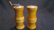 Vintage Pine Wood Carved Newel Column Salt Shaker Pepper Grinder Mill         85