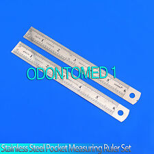 "2pc 6"" Stainless Steel Pocket Measuring Ruler Set Double Sided SAE & Metric"