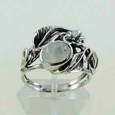 RAINBOW MOON STONE FLOWER DESIGN 925 HANDMADE STERLING SILVER RING