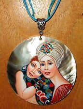 Pintado a Mano Único Ruso colgante de concha G. KLIMT lesbiana amor El Novias