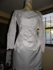 WEDDING EMBROIDERY BEADED LACE SATIN SHORT DRESS SIZE 4 OR 6 GREAT CONDITION