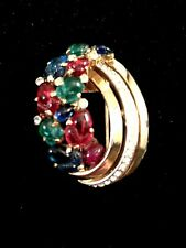 DAZZLING 1948 CROWN TRIFARI GLASS FRUIT SALAD CABOCHON RHINESTONE BROOCH CLIP