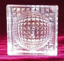 2 Open Salts Cellar Dip Antique Waffle Square Bevelled Pressed Glass