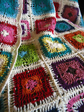 "Hand Crochet Granny Square Bed Cover Blanket Afghan 170cmX200/67"" x80"" Cotton"