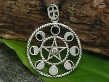 Pentagramm Mondphasen Anhänger 925 Sterling Silber Mond