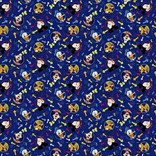 DISNEY MICKEY MOUSE HEAD TOSS ON BLUE FABRIC MATERIAL, From Springs Creative NEW