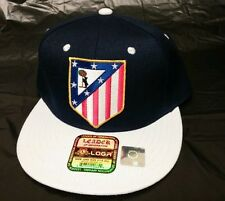 Atletico de madrid hat Navy white SNAP BACK FLAT BUILD ADJUSTABL NEW'