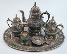 6 Piece Tea-Coffee Sterling Silver Service Set, Indian Stamped Repousse, 4273 Gr