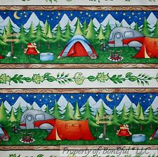 BonEful FABRIC FQ Cotton Quilt VTG Boy Girl Scout Camp Fire Tent Cabin RV Border