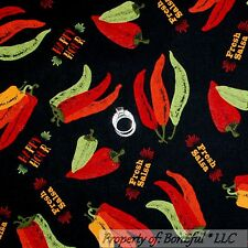 BonEful Fabric FQ Cotton Quilt Cook Chef Red Hot Pepper Texas Mexican Food Salsa