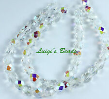 25 Crystal AB Czech Firepolished Round Glass Beads 6mm