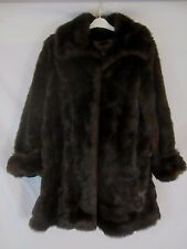 Terry Lewis Faux Fur Lined Brown Black Heavy Coat - Women's Small - F119