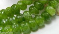 "Genuine 5x8mm Natural Faceted Green Jade Abacus Loose Beads 15"" AAA+"