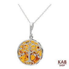 "COGNAC BALTIC AMBER STERLING SILVER 925 PENDANT TREE with 18""chain, KAB-274S"
