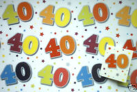 2 sheets 40th birthday gift wrap / wrapping paper + tag