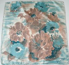 Richard Allan vintage silk scarf - Blue / Brown Brushstroke Florals - 1950s - M