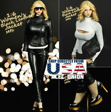 1/6 Women Sexy Leather Jacket Set with Shoes For Phicen Hot Toys Figure U.S.A.
