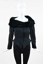 VINTAGE Thierry Mugler Black Wool Velvet Wrap Collar Pointed Hem Jacket