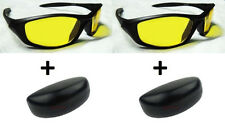 2 Pcs Night Driving Vision Anti Glare Yellow Lens Sunglasses Goggles Sun Glasses