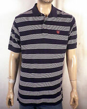 euc Polo Golf Ralph Lauren navy/white Striped Casual Collar Polo Shirt crest L