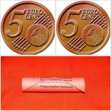 """Roll of 50x 5 Cent Euro Coins Germany DE 2002 Mintmark """"G"""" - Karlsruhe UNC"""