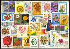 FLOWERS On Stamps - 50 Different Large world Wide Mixed Thematic Used Stamps