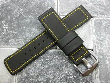 22mm HQ PVC Rubber Diver Strap Black Watch Band PAM Maratac Yellow