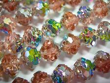 25  7x8mm Czech Glass Rosealine Vitral Rosebud beads