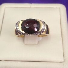 14 k Yellow Gold Oval  Cut faceted Red Garnet & White diamonds Cocktail Ring.